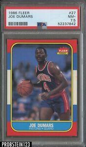 1986 Fleer Basketball #27 Joe Dumars Detroit Pistons RC Rookie HOF PSA 7.5 NM+