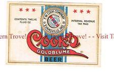 Unused 1940s IRTP INDIANA Evansville COOK'S BEER 12oz Label