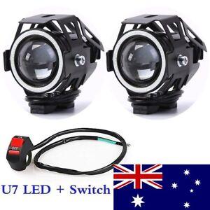 2Pcs 125W Motorcycle LED U7 Headlight Motorbike Driving Fog Spot Lights + Switch