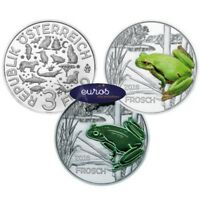 Pièce 3 euros commémorative AUTRICHE 2018  La Grenouille - Pièce phosphorescente
