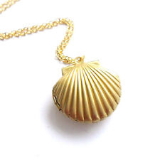 Charm Gold Tone Sea Shell Mermaid Pendant Simple Chain Necklace Prom Jewelry