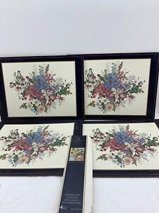 Vintage Pimpernel Place Mats Floral Birds England Set 4 Europe Corkboard Flowers