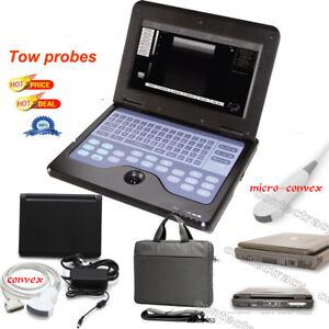 CE notebook style Ultrasound Scanner machine,3.5M Convex,3.5M Micro convex probe
