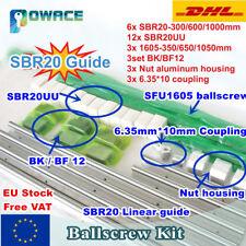 【UK】SBR20 Linear Rail Set+Ballscrew SFU1605 L350/650/1050mm+Nut+BK/BF12+Coupling