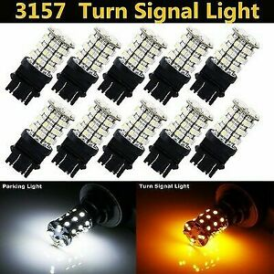 10X 3157 T25 60SMD Dual Color Switchback Led Lamp Parking Turn Signal Light Bulb