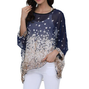 Womens Oversize Batwing Poncho Blouse Floral Kimono Chiffon Loose Cover Up Tops