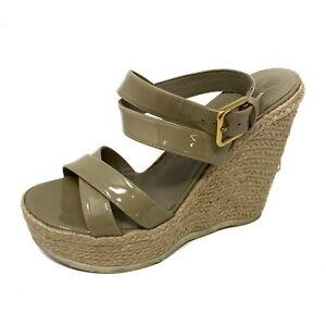 YSL Yves St Laurent Saint Malo Nude Patent Espadrille Sandals Size 38.5   8