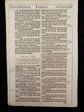 1611 KING JAMES BIBLE LEAF PAGE *BOOK OF LEVITICUS 7:7-8:20 * CONSECRATION AARON