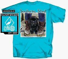 Southern Strut Black Lab Puppy & Duck Boots Cotton Short Sleeve T Shirt