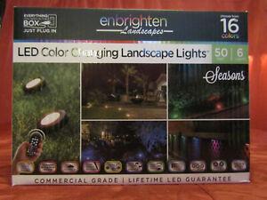 Enbrighten Seasons Landscape Path Light 6 Puck Lights 50' LED Color Changing NEW