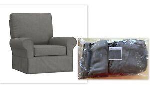 New Pottery Barn Kids SLIPCOVER Comfort GRAND Glider Swivel Chair Charcoal Grey