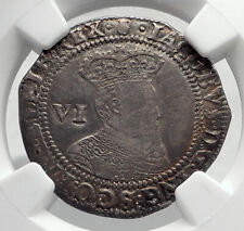 1603 GREAT BRITAIN UK King JAMES I of KJV Bible Silver Sixpence Coin NGC i80401
