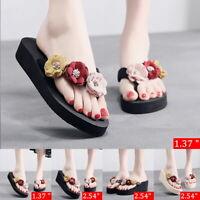 Women Summer Beach Flip Flops Sandals Slippers Flower Flat Indoor Beach Shoes GI
