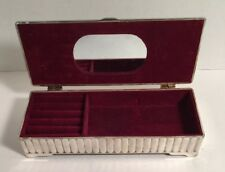 Vintage Godinger Jewelry Box Oblong Silver Plated Red Velvet-lined With Mirror