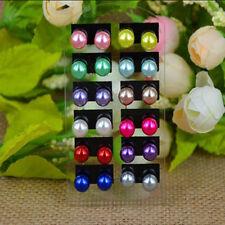 12 x Boucles d'oreille Perle multicolore très joli fille femme boucle d'oreille