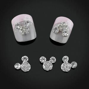 Crystal Rhinestone Mickey Mouse Head 3D Nail Art Set Of 5 Glass Silver Charms