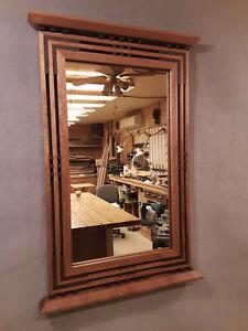 Handcrafted Arts & Crafts /Prairie Style Mirror Black Cherry and Black Walnut