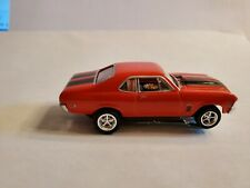 70 Nova Ss Red / Bk Stp Ho Slot Car, Ultra G Chassis, Chrome Craig Rims & Tires