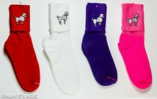 Poodle Socks 50's Style Adult White Cuffed Ankle Socks W/ Wht Poodle Applique