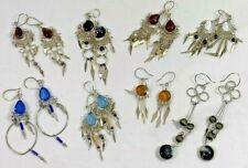 8 pair lot of Peruvian Murano Gem Glass Long Dangle Earrings Alpaca Silver