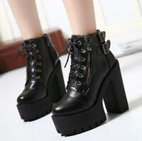 Womens Platform Lace Up Knight Ankle Boots Buckle Chunky High Heel Punk Shoes