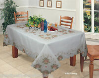 """Embroidered Peach Floral Sheer Tablecloth 70x120"""" & 12 Napkins Ivory #3738W"""