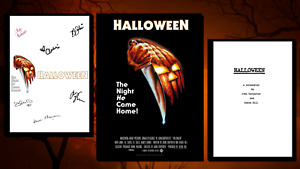 Halloween Script/Screenplay & Movie Poster And Autographs Signed Print