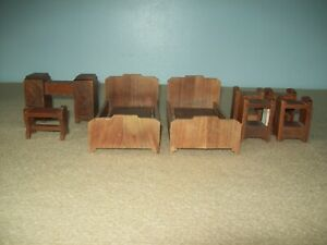 lot of misc Strombecker Walnut Doll furniture two  beds nightstands  desk