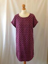 (153) Púrpura Impresión Rosa Suave Viscosa Boden Fácil UK Camiseta Vestido Talla 12 L