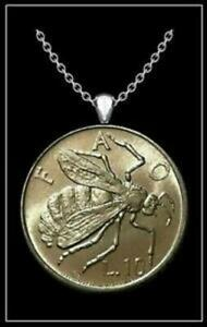 HONEY BEE Coin Necklace - silver san marino 10 lire wasp hornet insect pendant