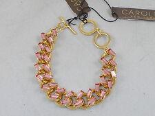 Carolee Goldtone MODERN ROSE' Pink Baguette Chain Link Bracelet B6716-5021 $85