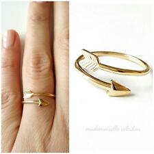 BAGUE FLECHE PLAQUE OR 750 CERTIFIE - TAILLE REGLABLE - ARROW RING GOLD PLATED
