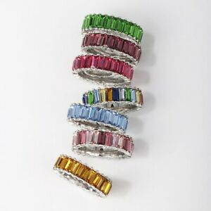 Rainbow Eternity Statement Ring Baguette CZ Stack Bauble Glass Simulated Silver