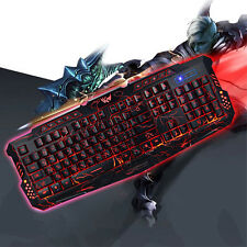 New Russian / English USB Wired LED Gaming Keyboard 3 Backlight Modes Full N-Key