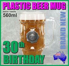 30th BIRTHDAY PLASTIC BEER MUG STEIN TANKARD WITH HANDLE HOME BAR GREAT GIFT
