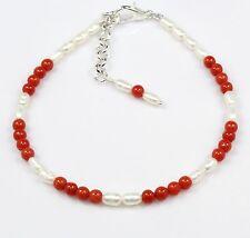 "Genuine Red Coral Pearl Bracelet Armband 7.25""+1 Gemstone Ct 19.3 Birthday Gift"