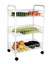 3 Tier Chrome Silver Kitchen Fruit Vegetable Storage Trolley Cart Shelf Rack