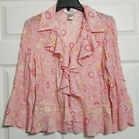 Allison Taylor Women's Cardigan 1 Button Top ~ Sz M ~ Pink ~ 3/4 Sleeves