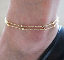 Bracelet Gold Beaded Barefoot Beach Fashion Jewelry Double Layer Chain Anklet