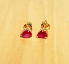 High Quality Pear Shape Ruby Gemstone 9K Yellow Gold Stud Earring Jewelry