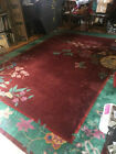 Art Deco Chinese rug approx. 9' x 12' Nichols Hand-Knotted Wool rug from 1920s