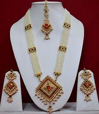 Gold Plated Long  Rani Haar Pearl  Indian Bridal Necklace Earrings Jewelry Sets