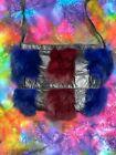 Vintage 90s Y2K Faux Fur & Leather Color Block Crossbody Funky Grunge Bag