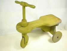 """VINTAGE WOOD TOY TRICYCLE CHILD SCOOTER TRIKE GREEN 18"""" TALL WOODEN WHEELS KID"""