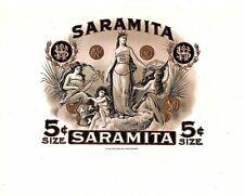 Saramita 5c Celestial Queen Vintage Historic Antique Embossed Cigar Box Label