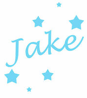 Personalised Name/Stars Wall Art, Boys/Kids Bedroom,Custom Vinyl Sticker