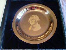 """The George Washington Plate """"Sterling Silver"""" Inlaid with 24k Gold Franklin Mint"""