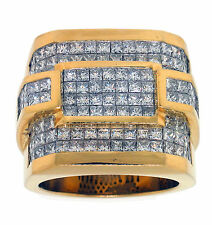 18K Yellow Gold 8.16ct PRINCESS CUT DIAMOND Mens RING
