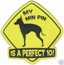 "MIN PIN Dog Wag Tag CAR MAGNET ""Is A Perfect 10"" - NEW"