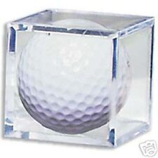 (3) GOLF BALL SQUARE CUBE HOLDER CRYSTAL CLEAR DISPLAY CASE